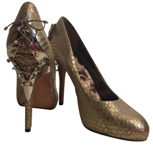 Sam Edelman Metallic Hardware Gold Pumps