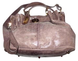 Badgley Mischka Multiple Compartment Versatile 2way Style Belted Gathered Top Excellent Condition 'distressed' Satchel in brownish purple leather