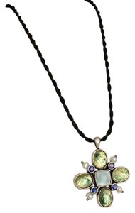 Lia Sophia Lia Sophia Black Cord Mother Of Pearl Floral Necklace