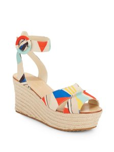 Alice + Olivia Espadrille Wedge Abstract Print Platform Sandals