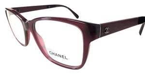 Chanel CHANEL Eyeglasses Burgundy with Leather Temples with Case