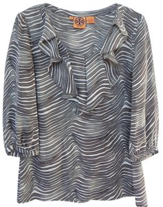 Tory Burch Silk Ruffle 3/4 Sleeves Top