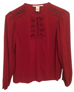 Diane von Furstenberg Silk Long Sleeve Top red