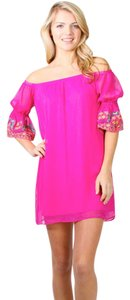 Vava by Joy Han short dress Pink Embroidered Off The Shoulder Lined Pull Over on Tradesy