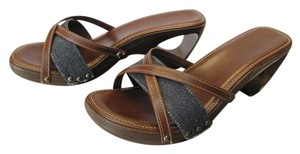 Other Size 8.00 M Demin Paadded Footbed Very Good Condition Brown, Denim Blue Sandals