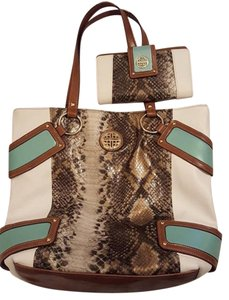 Kate Landry Wallet Leather Tote in White, Snakeskin, Mint Green
