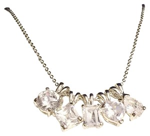 Avon Silver Tone Avon Multi Crystal Pendant Necklace Chain