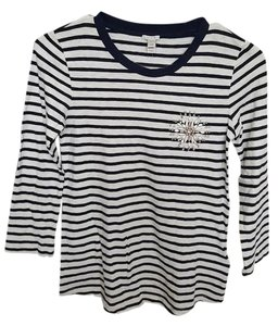 J.Crew Jewel Striped Cotton Tee Embellished T Shirt Cream/navy stripe/jewel/embellishments