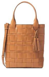 Michael Kors Vivian Large Woven Leather Tote in Peanut