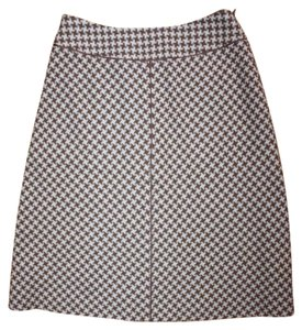 Ann Taylor A-line Houndstooth Wool Skirt BROWN