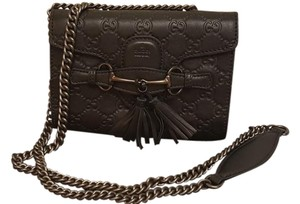 Gucci Leather Monogram Emily Cross Body Bag