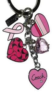 Coach COACH Multi Mix Heart Pink Ribbon Key Ring Fob Purse Charm RARE