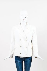 Chanel Chanel 94c White Textured Cotton Double Breasted Blazer Jacket