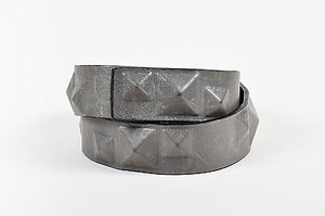 Ronald Pineau Gray Leather Concealed Pyramid Stud Belt