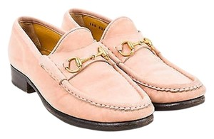 Gucci Light Pink Horsebit Peach, Gold-Tone Hardware Flats