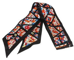 Hermès Hermes Black Multicolor City Print Twilly Scarf