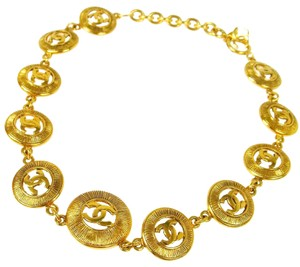 Chanel CHANEL Vintage RARE CC Medallion Necklace Gold