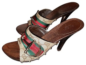Gucci Vintage Studded Monogram Classic Canvas BEIGE with Red and Green Band Mules