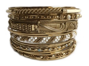 Shop One Twenty Plus Size Gold Tone Beige Beaded Stacking Bangle Bracelets