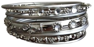 Shop One Twenty Plus Size Silver Tone Stacking Bangle Bracelets