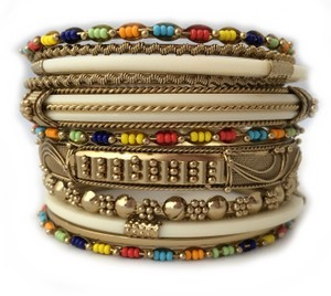 Shop One Twenty Gold Tone Multi Color Seed Bead Embellished Stacking Bangle Bracelets