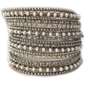 Shop One Twenty Silver Tone White Seed Bead Embellished Stacking Bangle Bracelets