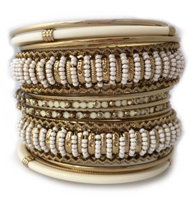 Shop One Twenty Gold Tone Beige Seed Bead Embellished Stacking Bangle Bracelets