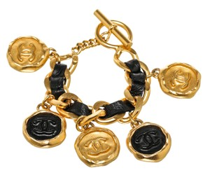 Chanel Chanel Gold and Black CC Medallion Charm Bracelet 95A
