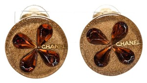 Chanel Chanel Gold Resin Crystal Embellishment Round Clip On Earrings 01C