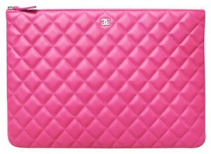 Chanel Handle Quilted Pink DeepPink Clutch