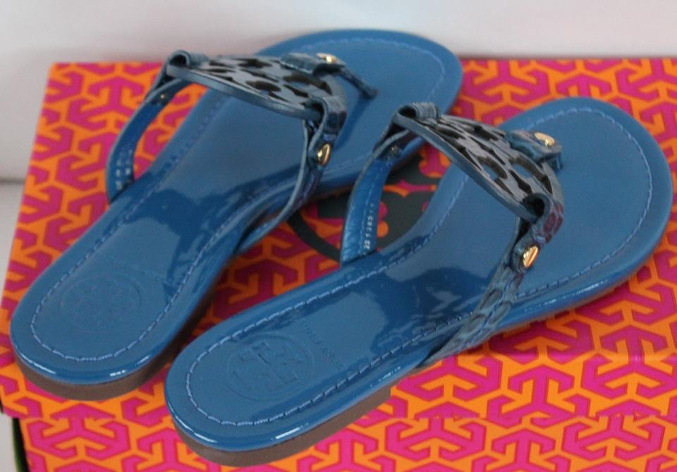3f502a12586ee8 Tory Burch Evening Sky 454 Nwb Miller Patent Leather Flip Blue ...