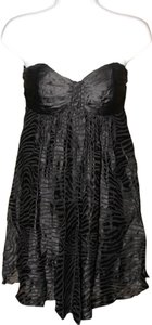 Express Silk Zebra Animal Print Strapless Semi-formal Dress