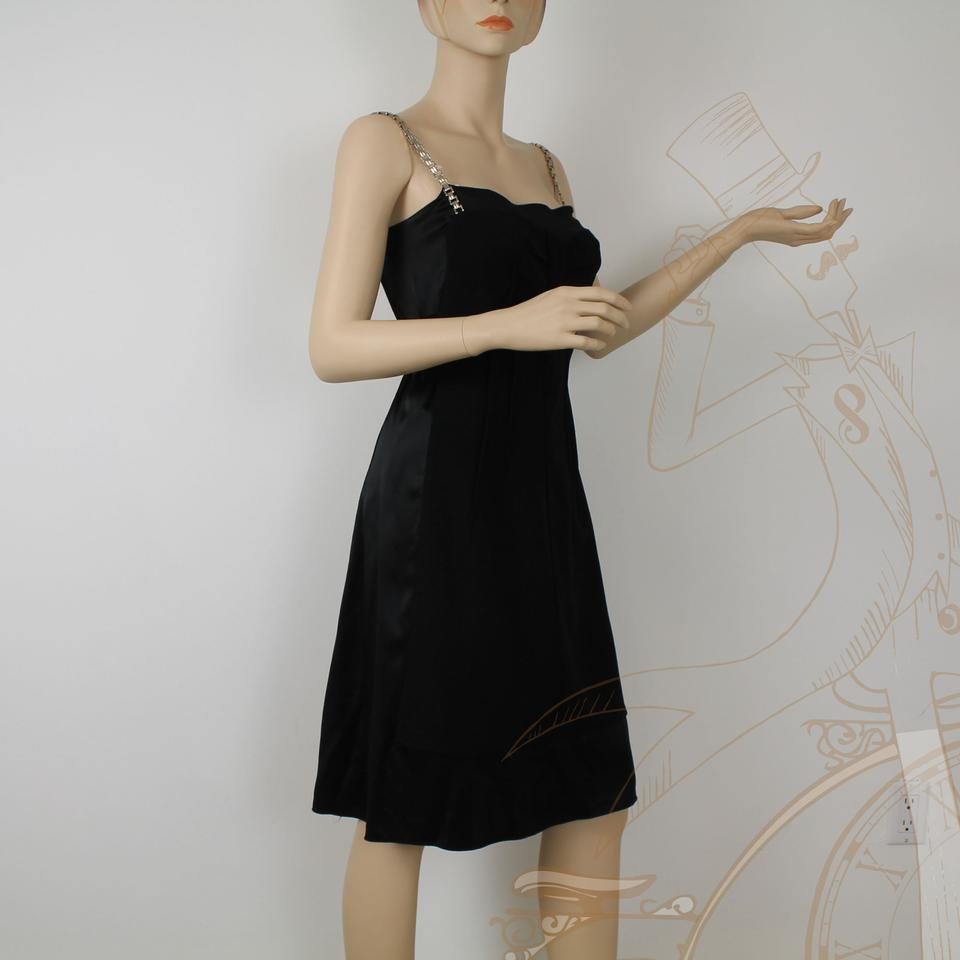 321af67ec8 Dolce Gabbana Black Satin 3 Silver Chain Strap Tie Cocktail Knee Length Night  Out Dress Size 12 (L) - Tradesy