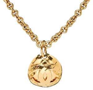Chanel Chanel Gold Vintage CC Quilted Medallion Necklace 94P