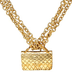 Chanel Chanel Gold Vintage Classic Flap Purse Pendant Necklace
