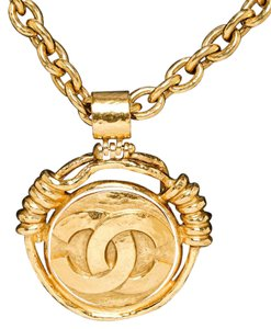 Chanel Chanel Gold Vintage CC Mirror Pendant Necklace