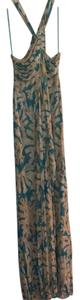 Turquoise Beige Cream Yellow Maxi Dress by Diane von Furstenberg
