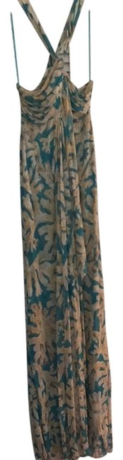 Item - Turquoise Beige Cream Yellow Cocktail Long Casual Maxi Dress Size 10 (M)