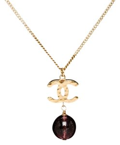 Chanel Chanel Gold CC Ball Drop Necklace