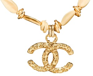 Chanel Chanel Gold CC Pendant Bead Choker Necklace