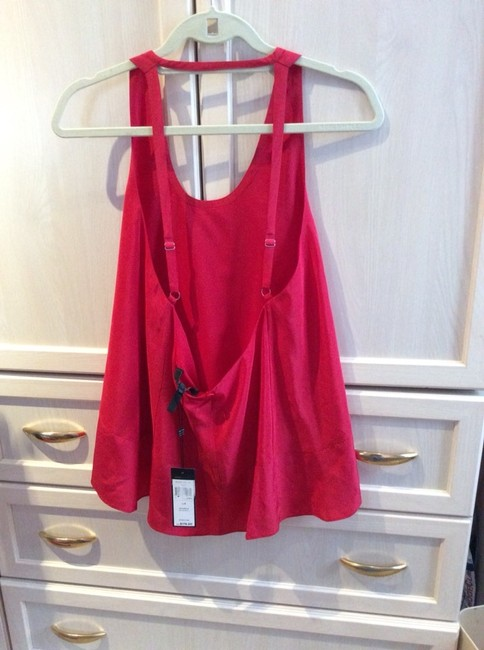 BCBGMAXAZRIA Night Out Date Night Silk Top Lipstick Red