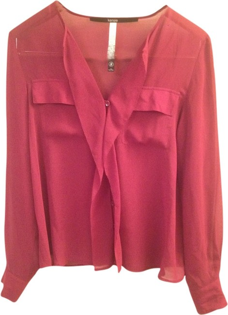 Preload https://item4.tradesy.com/images/kensie-magenta-pink-sheer-ruffle-button-down-blouse-size-4-s-1974448-0-0.jpg?width=400&height=650
