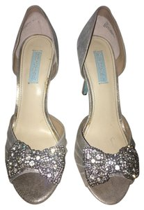 Betsey Johnson Bridal Something Blue Silver Metallic Pumps