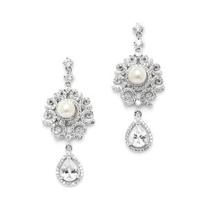 Highest Quality Aaaaa Cz Micro Pave & Vintaged Styled Pearl Scrolled Bridal Earrings