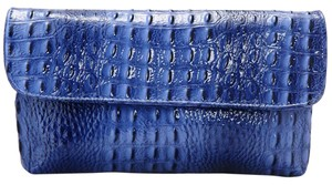 Vecceli Italy Faux Leather Alligator Skin Blue Clutch