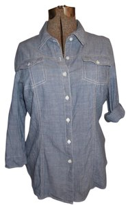 Hester & Orchid Light Button Down Shirt Blue Denim