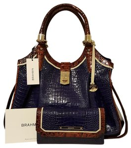 Brahmin Elisa Leather Checkbook Wallet Hobo Bag