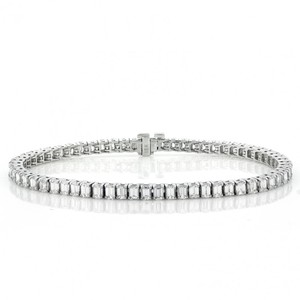 Colorless 8.20 Cts. Emerald Cut Diamond 18k White Gold Bracelet