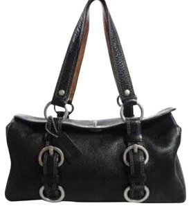 Coach Boston Chelsea E063-10164 Pebbled Leather Satchel in Black
