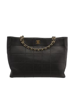Chanel Quilted Lambskin Leather Cc Tote in Black